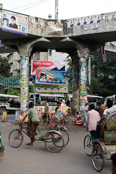 Bangladesh - Dhaka - Traffic around an intersection