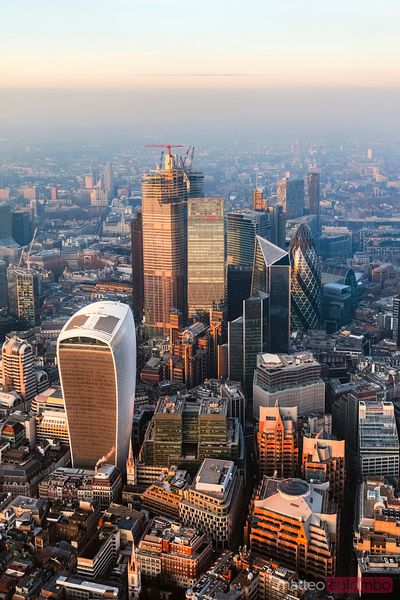 Aerial view of London business district at sunset, UK