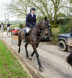 Meghan Healy leaving the meet. The Cottesmore Hunt at The Priory