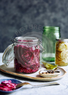 pickled red cabbage with mustard seeds.