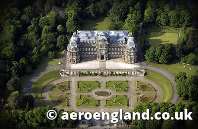 aerial photograph of the Bowes Museum , Barnard Castle County Durham  England UK