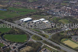 Bury aerial photograph of Waterfold Business Park Rochdale Road Junction 2 M66 motorway