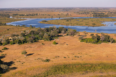 Landscape in the Okavango Delta from helicopter, Botswana, June 2016. June