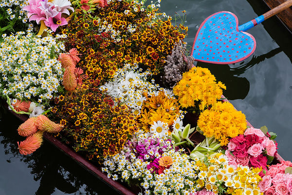 Close-up of Flower Seller's Boat