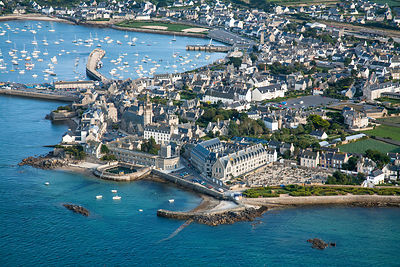 Aerial view of harbour and 'Station biologique de Roscoff' (Marine Biology Research Station) Roscoff, Finistere, Brittany, Fr...