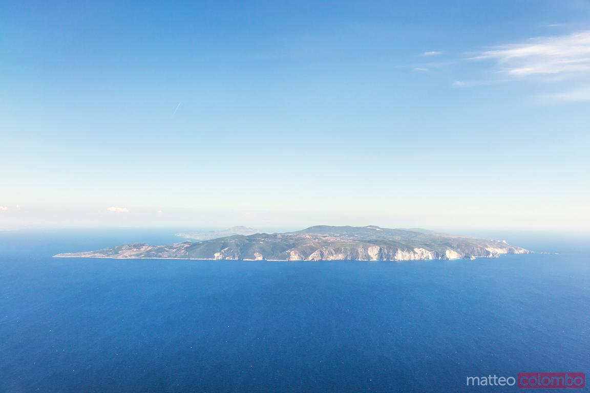 Aerial image of Zakynthos island in the mediterranean sea, Greece