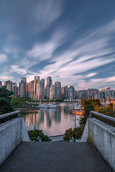 Vancouver Highrises and Clouds Reflected in False Creek