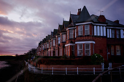 Terrace of Victorian Houses overlooking the River Mersey at Sunrise