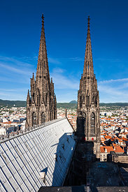 Spires of Notre Dame de l'Assomption cathedral in Clermont Ferrand
