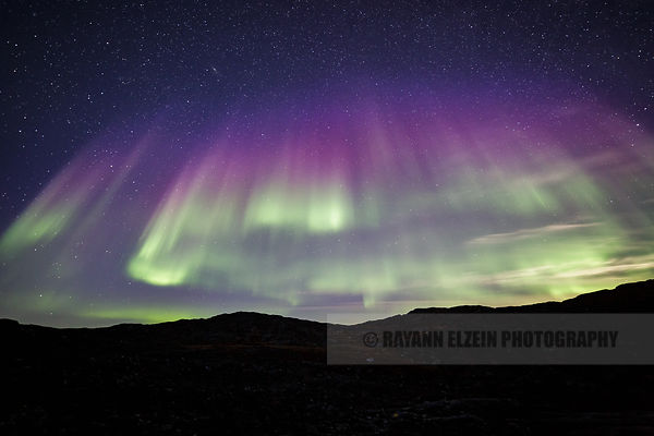 The moonshine cannot prevent us from seeing green, purple and blue Aurora in Ilulissat, Greenland