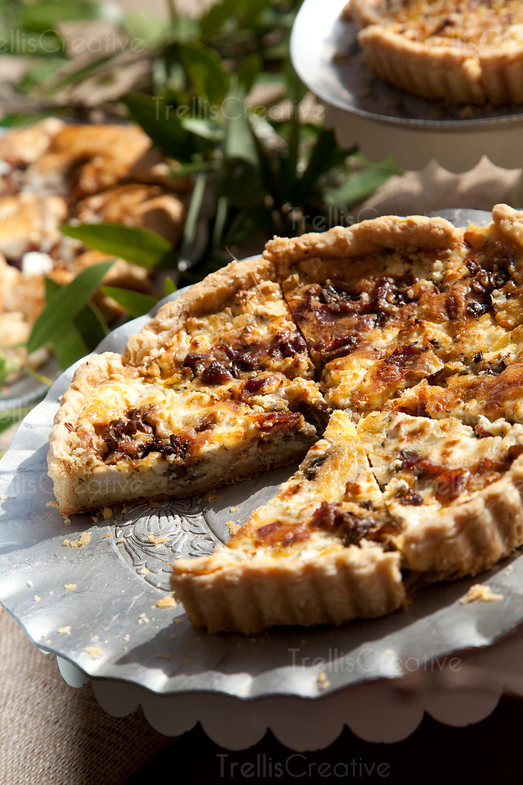Mushroom, bacon and goat cheese quiche