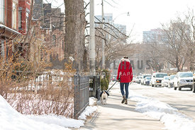 woman walking dog on city street