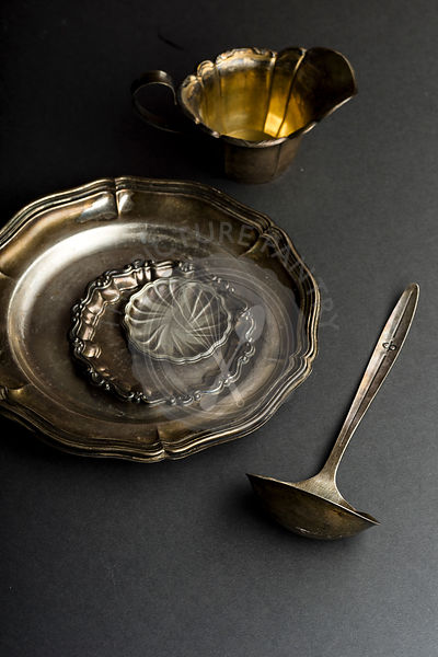 Vintage metallic dishware