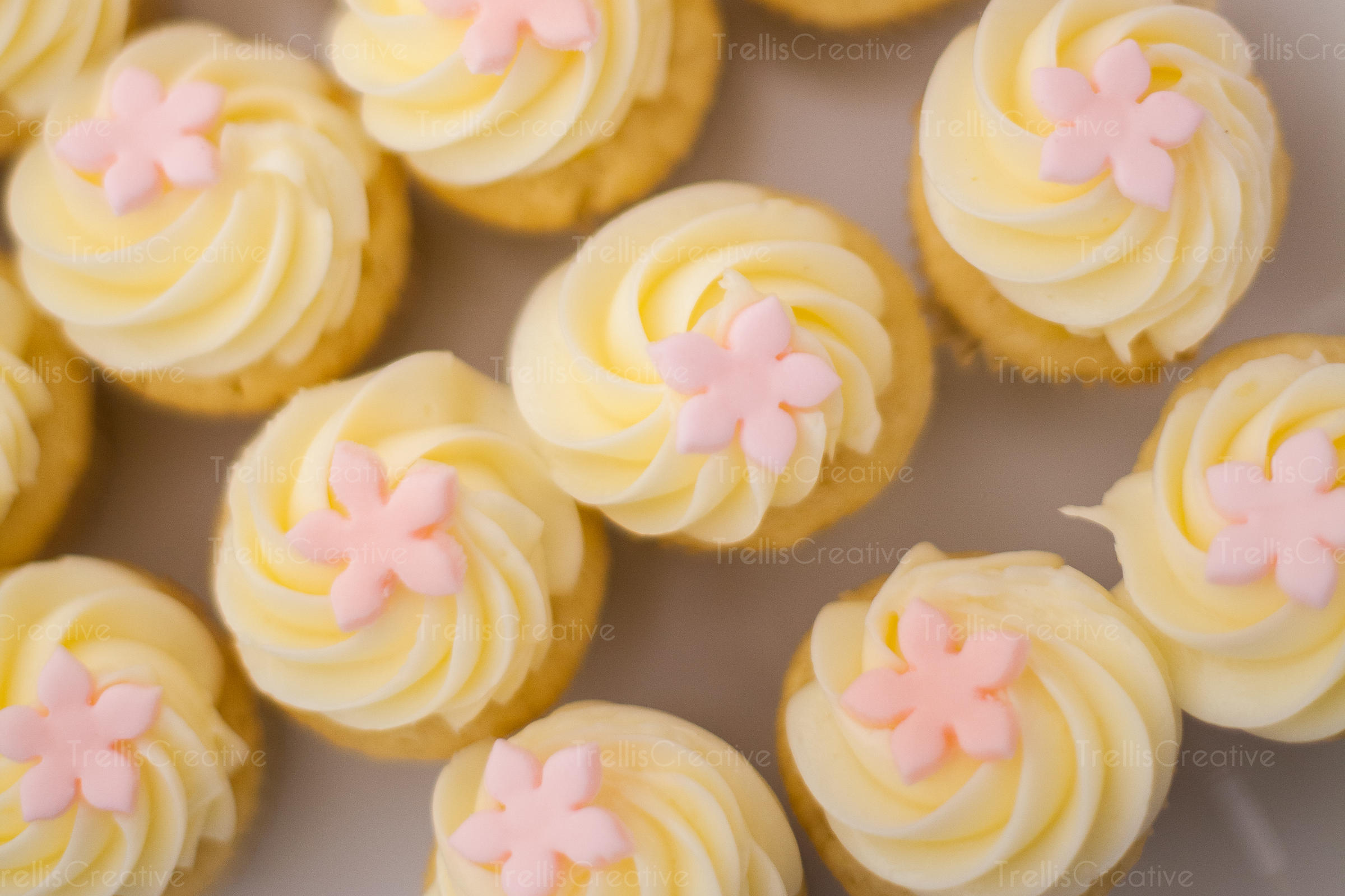 Elevated view of cupcakes decorated with yellow whipped cream