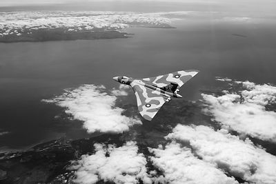 Vulcan over South Wales black and white