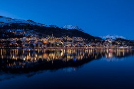 Lake and city of  St.Moritz by night