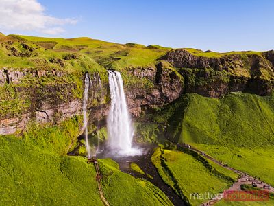 Aerial drone view of Seljalandsfoss waterfall in summer, Iceland
