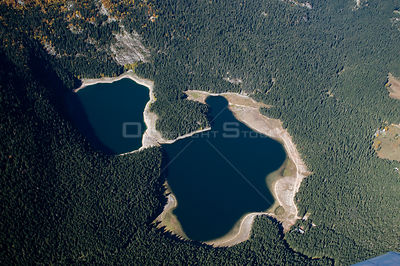 Aerial view of Black Lake, Durmitor NP, Montenegro, October 2008