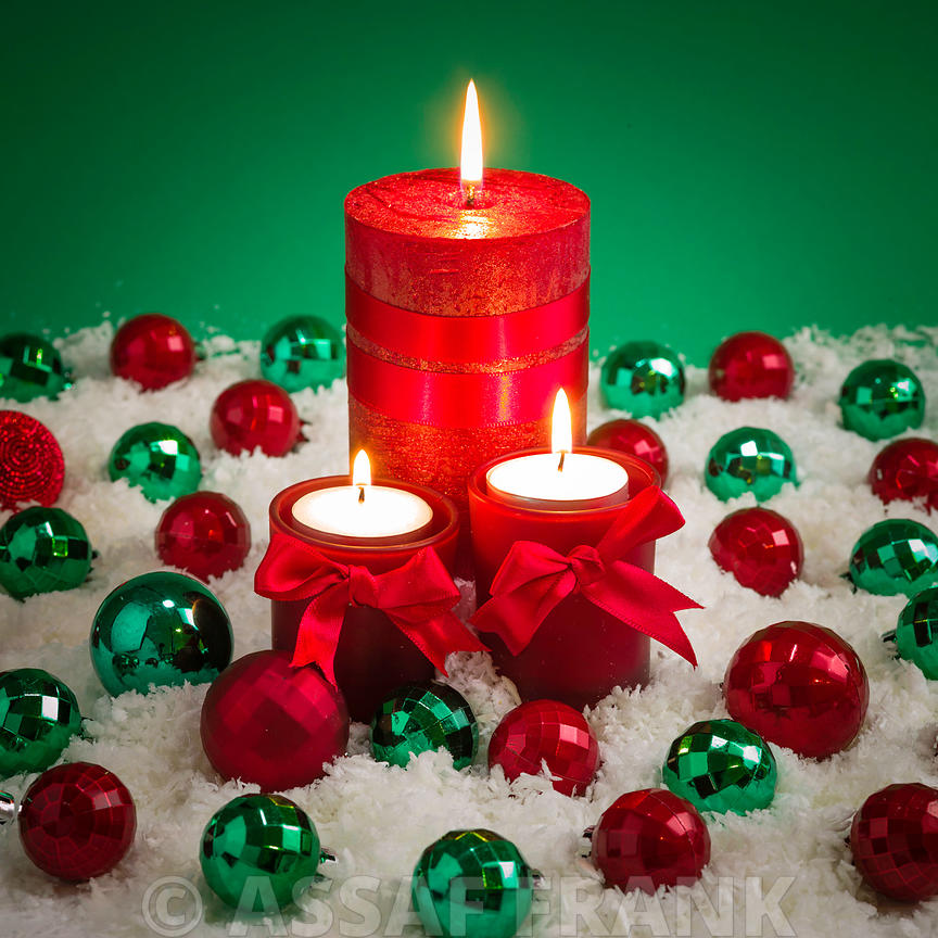 Red christmas candles and baubles
