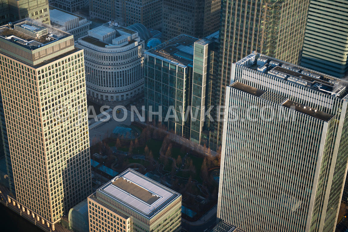 Aerial view of Jubilee Park, Canary Wharf, London