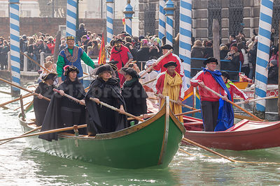 Men and Women wearing Tricorn Hats in the Venice Carnival Water Parade