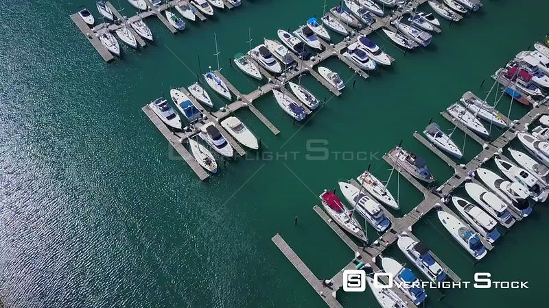 DuSable Harbor and Lakefront Trail Drone Video Downtown Chicago Illinois USA