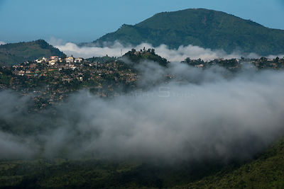 Goujung Village and mountain landscape, Konyak Naga Tribe, Mon district. Nagaland,  North East India, October 2014.