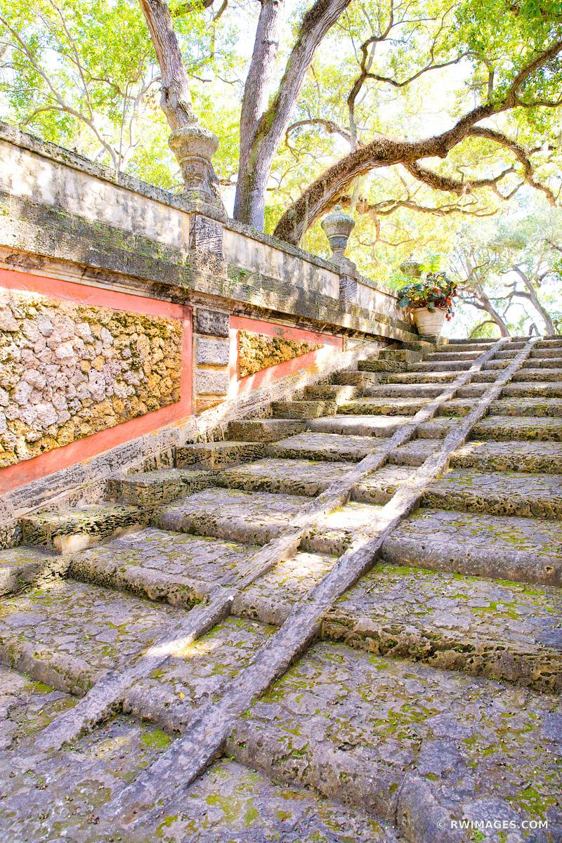 OLD GARDEN STAIRS VILLA VIZCAYA MUSEUM AND GARDENS COCONUT GROVE MIAMI FLORIDA