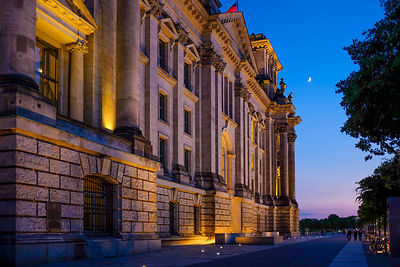 The side of the Reichstag Building at Twilight