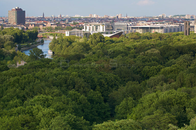 Ariel view from the Siegessaeule of the Tiergarten park, river Havl and the city center, Berlin, Germany, May 2009