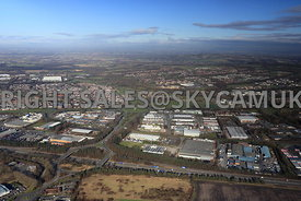 Skelmersdale high level aerial view of junction 4 M58 motorway showing Glenburn road and the Industrial Estate