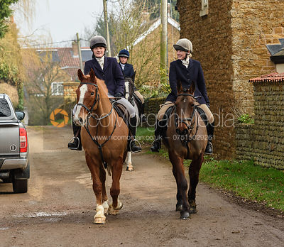 Caroline Stewart arriving at the meet. The Belvoir Hunt at Springfield Farm 23/2