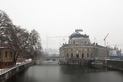 BERLIN - JANUARY 07: The Bode Museum on January 07, 2016 in Berlin. Front view of the historical preserved building located i...