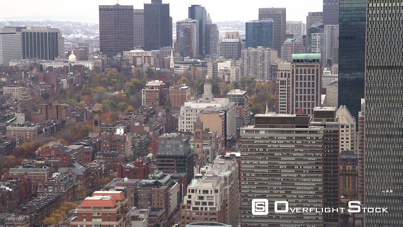 Over Brownstones in Boston's North End, Looking Toward Downtown Skyscrapers. Shot in November