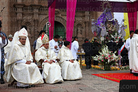 Bishop of Puno Jorge Carrion Pablisch (centre) during central mass, Virgen de la Candelaria festival, Puno, Peru