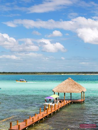 High angle view of Laguna Bacalar, Mexico