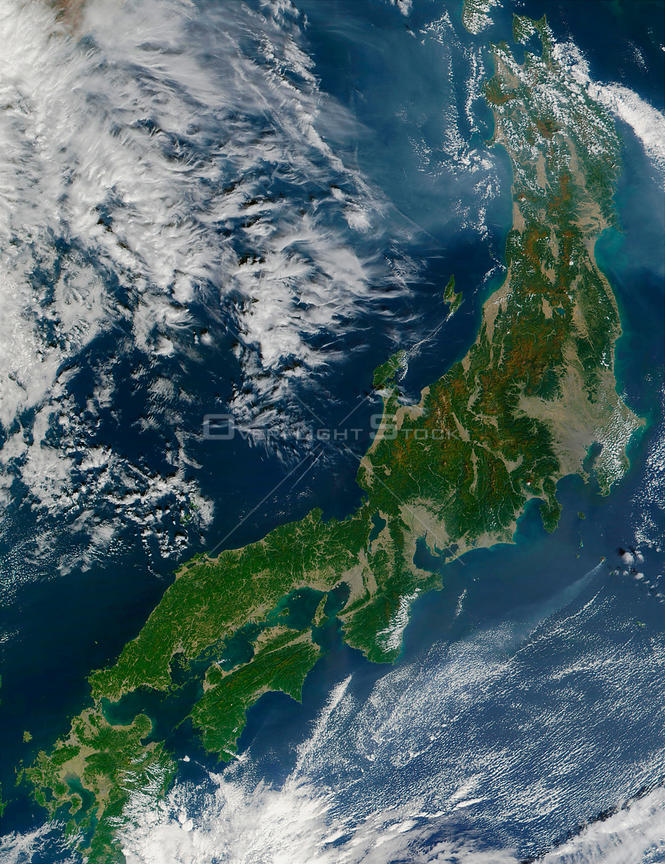 EARTH Japan -- 15 Oct 2001 -- This true-color MODIS image of Japan was captured from data acquired on October 15, 2001