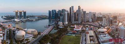 Panoramic of Marina bay at sunset, Singapore