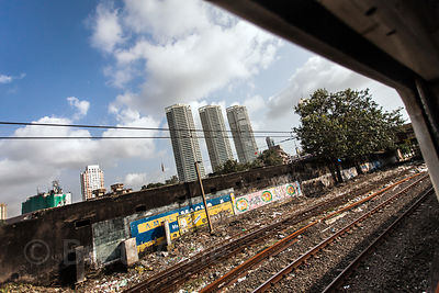 Train tracks near Marine Lines in Mumbai, India. Local trains are a big part of daily life in Mumbai.