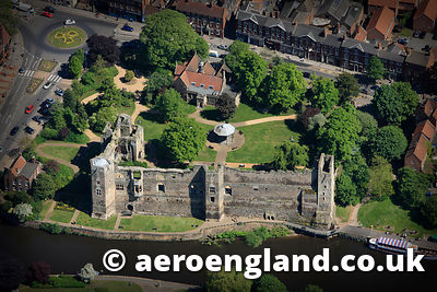aerial photograph of Newark Castle Nottinghamshire  UK