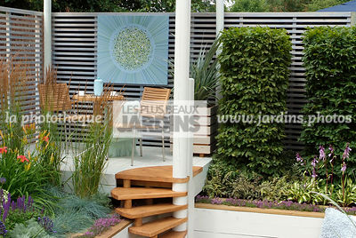 Carpinus communis, Garden chair, garden designer, Garden furniture, Garden table, Stair, Terrace, Trellis, Contemporary Terrace, Digital, Grasses