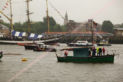 The Endeavour L041 Cockle Boat and Steamboat SC438 and The TS Pelican Tall Ship in The Thames River Pageant