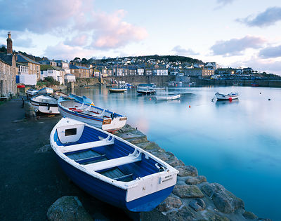 Early morning at the picturesque Cornish fishing village of Mousehole.