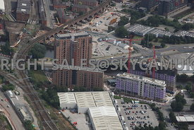 Wilburn Basin construction of new Apartments Ordsall Lane and Trinity Way Salford and construction work by Network Rail on ra...