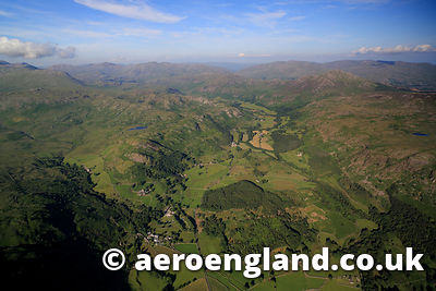 aerial photograph of Eskdale in the Lake District Cumbria England UK