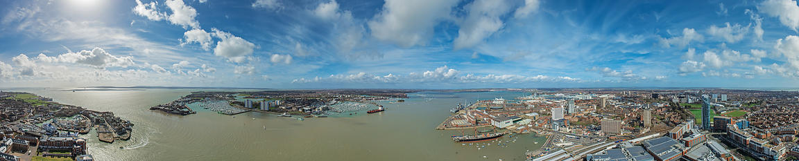 Panoramic Aerial View of Portsmouth Harbour for the Spinnaker Tower