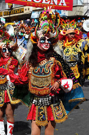 China Supay / female devil dancing the diablada during the Gran Poder festival, La Paz, Bolivia