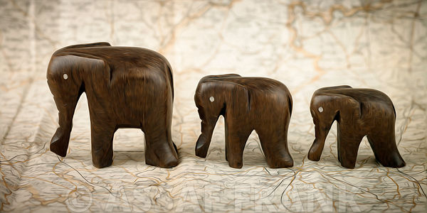 Set of wooden Elephants