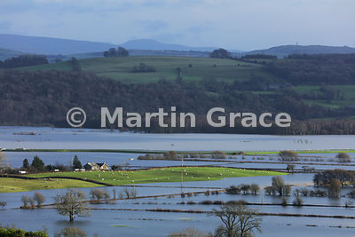 The Lyth Valley flooded after prolonged, torrential rain, December 2015, Cumbria, England
