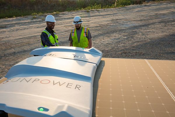Commercial photo shoot for Sunpower Corporation demonstrating the utility and benefits of an industrial solar panel array in ...